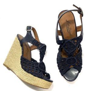 Lucky Brand Blue Rilo Crochet Espadrille Wedges